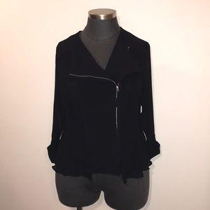 Lane Bryant Sz20 Black Chiffon Asymmetrical Jacket